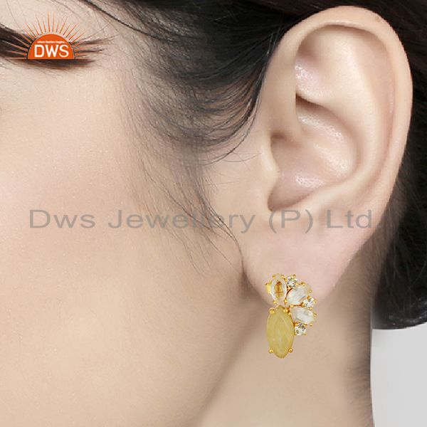 Wholesalers Golden Rutile Gemstone 925 Silver Fashion Stud Earrings Jewelry