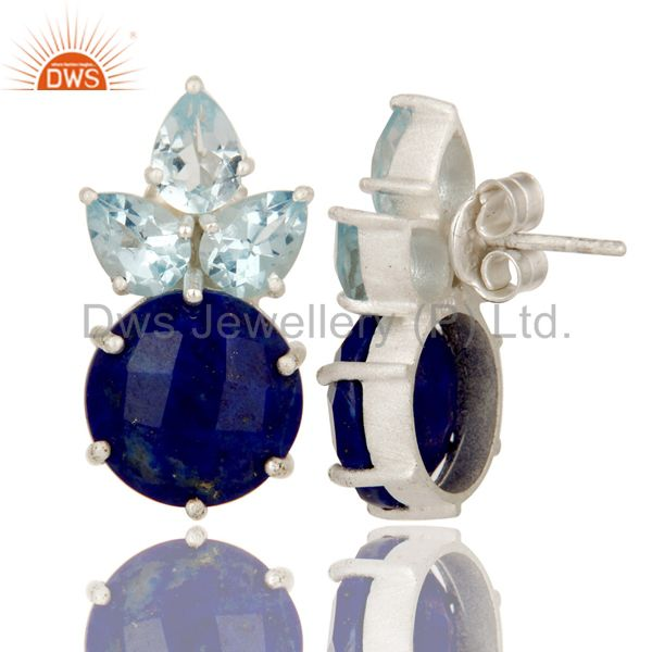 Wholesalers 925 Sterling Silver Lapis Lazuli And Blue Topaz Gemstone Cluster Stud Earrings