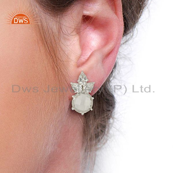 Wholesalers Crystal Quartz Gemstone Fine Silver Stud Earrings Jewelry Manufacturer