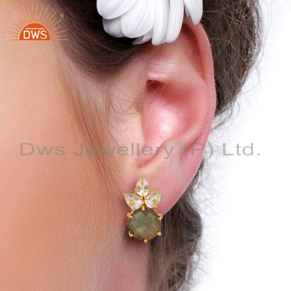 Wholesalers Labradorite Crystal Quartz Studs Gold Plated Sterling Silver Earrings Jewelry