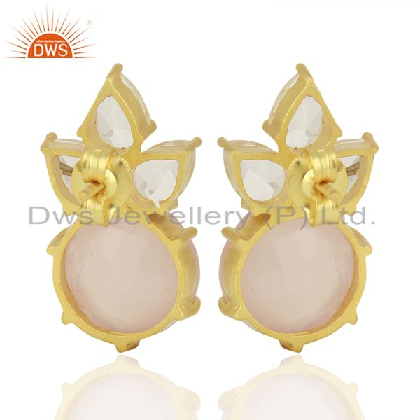 Designers 18K Gold Plated Sterling Silver Crystal Quartz And Chalcedony Post Stud Earrings