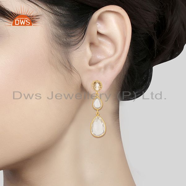 Wholesalers Crystal Quartz Bezel Set Gemstone Sterling Silver Gold Plated Dangle Earrings