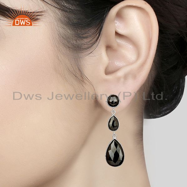 Wholesalers Black Hametite Gemstone Fine Sterling Silver Dangle Earrings Wholesalers