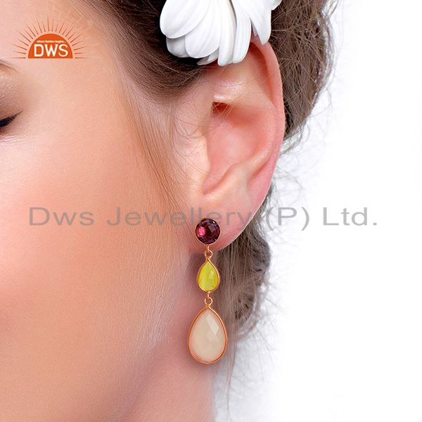 Wholesalers Rose Chalcedony Gemstone Rose Gold Plated Silver Dangle Earrings
