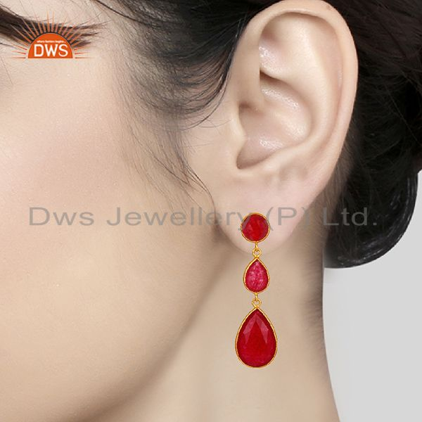 Wholesalers Red Aventurine Gemstone Gold Plated 925 Silver Dangle Earring Supplier