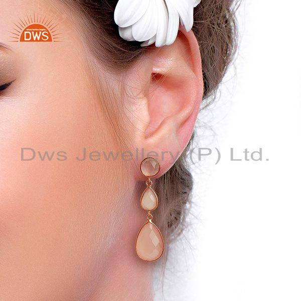Wholesalers 18K Rose Gold Plated Sterling Silver Rose Chalcedony Triple Drop Earrings