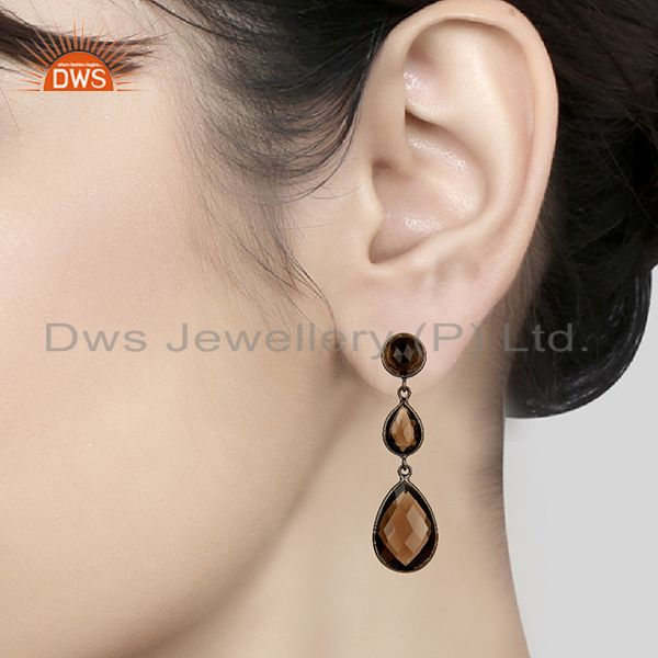Wholesalers Handmade Black Rhodium Plated Smoky Quartz Girls Earrings Supplier