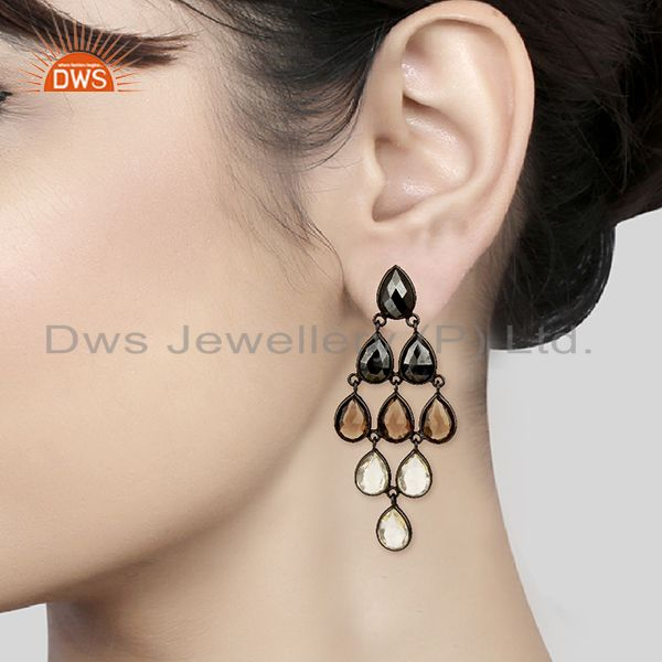 Wholesalers Rose Gold Plated Handmade 925 Silver Gemstone Earrings Manufacturers