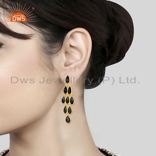 Wholesalers 14k Gold Plated 925 Silver Black Onyx Gemstone Earring Manufacturer