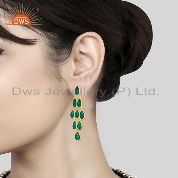 Wholesalers Sterling Silver Gold Plated Green Onyx Gemstone Earring Manufacturer