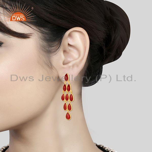 Wholesalers 14k Gold Plated 925 Silver Red Onyx Gemstone Earring Manufacturers