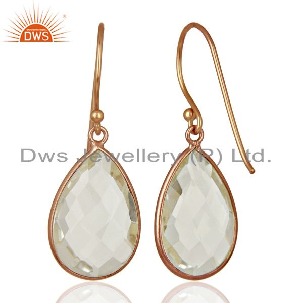 Wholesalers 18K Rose Gold Plated Sterling Silver Crystal Quartz Bezel Set Drop Earrings