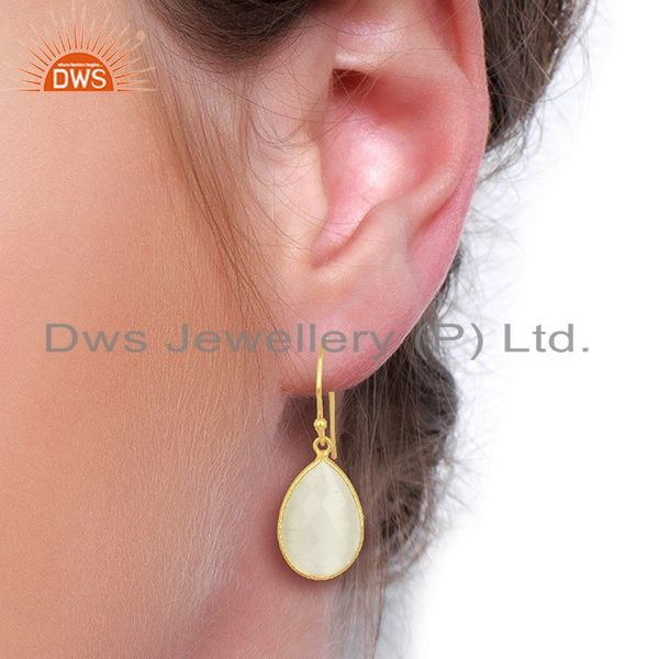 Wholesalers 14K Yellow Gold Plated Sterling Silver White Moonstone Bezel Set Drop Earrings