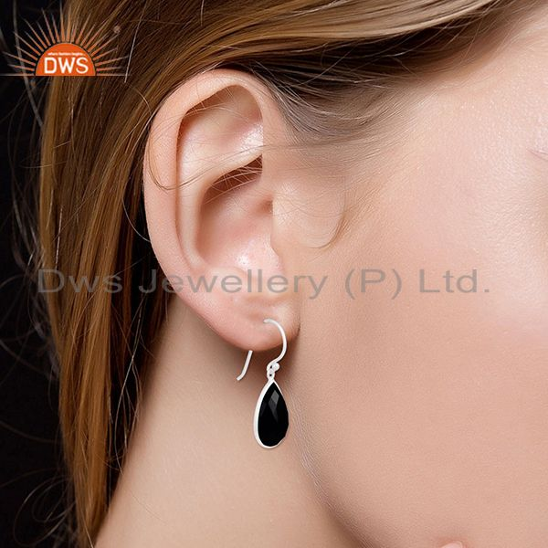 Wholesalers 925 Sterling Silver Faceted Black Onyx Gemstone Bezel Set Dangle Earrings