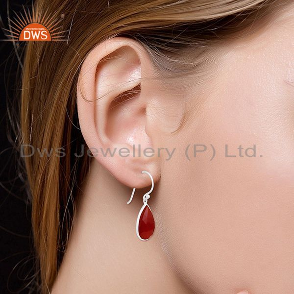 Wholesalers Red Onyx Gemstone Sterling Fine Silver Earring Manufacturer of Custom Jewelry
