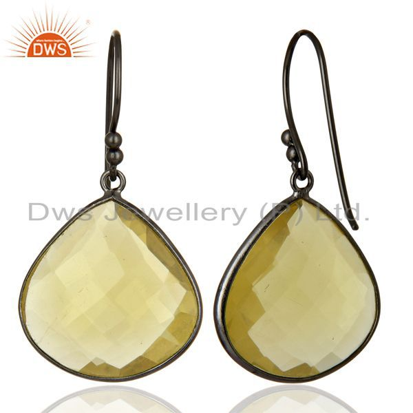 Wholesalers Oxidized Sterling Silver Natural Lemon Topaz Gemstone Bezel Set Drop Earrings
