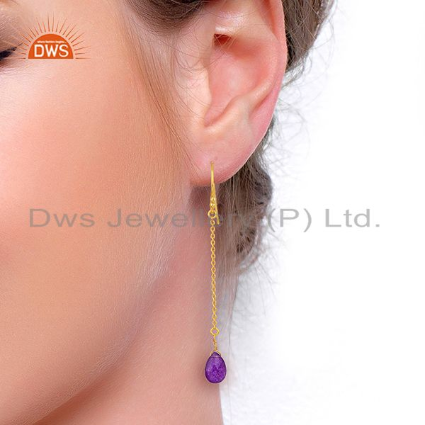 Wholesalers Gold Plated Aventurine Gemstone 925 Sterling Silver Chain Earrings