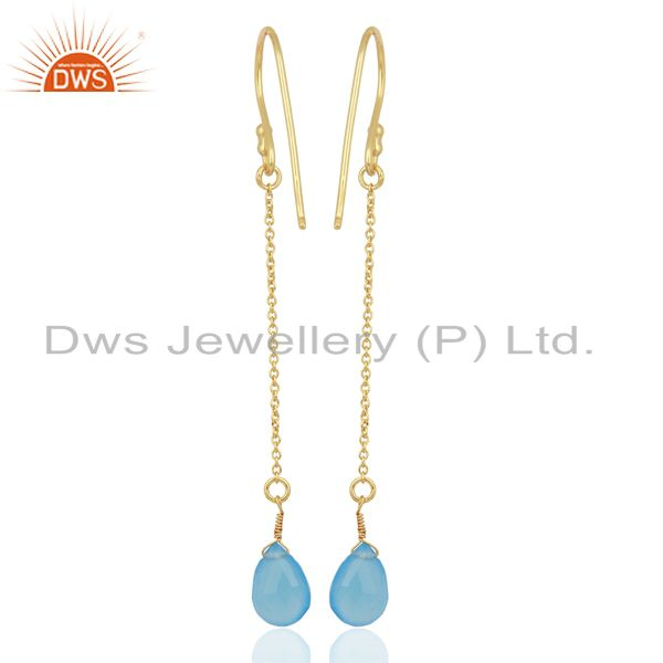 Wholesalers Blue Chalcedony Simple Chain Gold Plated Wholesale Earring Jewelry