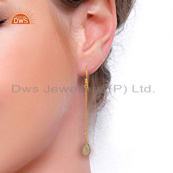 Wholesalers Gray Chalcedony Gemstone Gold Plated Silver Earrings Manufacturer