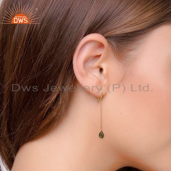 Wholesalers 18K Rose Gold Plated Sterling Silver Labradorite Drop Long Chain Earrings