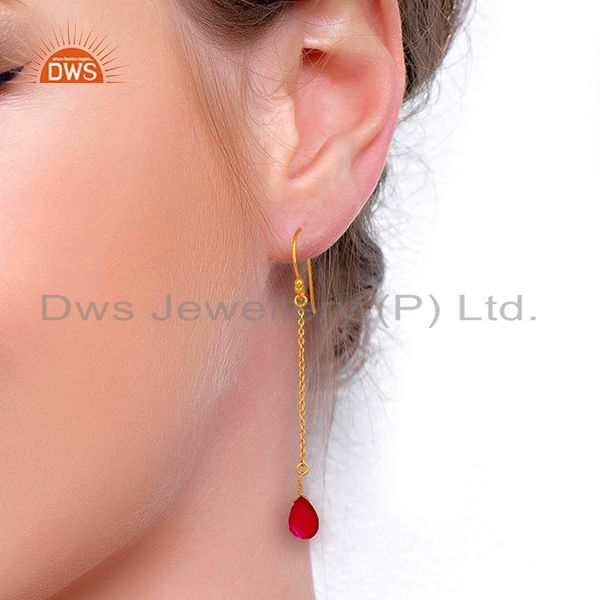 Wholesalers Pink Chalcedony Gemstone 925 Silver Gold Plated Girls Chain Earring