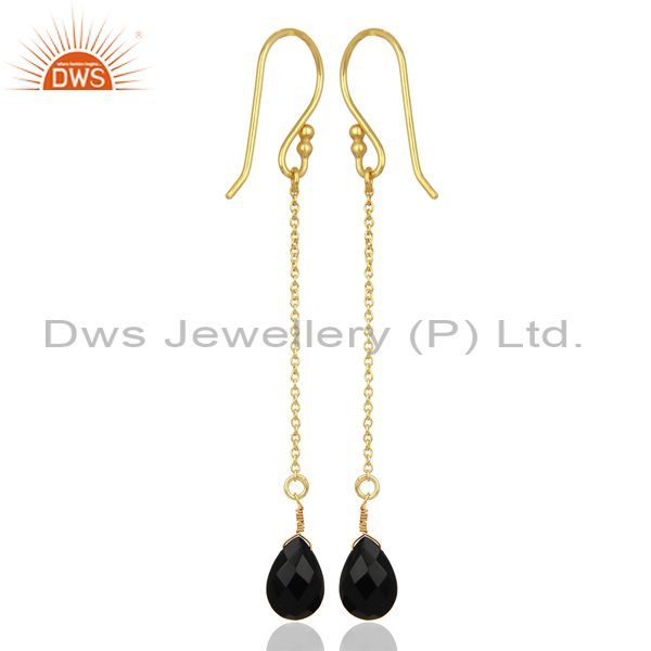 Wholesalers Black Onyx Simple Chain Gold Plated Wholesale Earring Jewelry