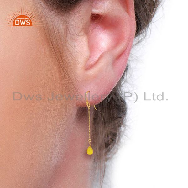Wholesalers Yellow Chalcedony Drop 14K Yellow Gold Plated 925 Sterling Silver Earrings