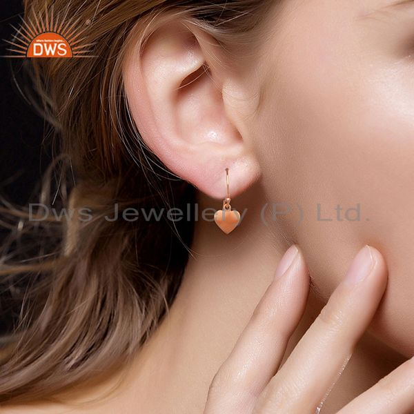 Wholesalers Heart Design Rose Gold Plated 925 Silver Girls Earrings Wholesale