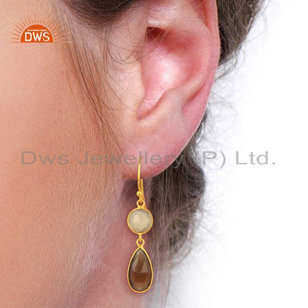 Wholesalers Gray Chalcedony Dangle 14K Gold Plated 925 Sterling Silver Earrings Jewelry