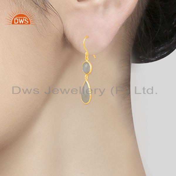 Wholesalers 925 Silver Gold Plated Rainbow Moonstone Earring Wholesale Supplier
