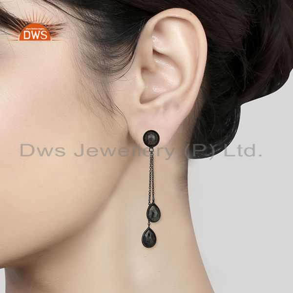 Wholesalers Hematite Gemstone 925 Black Silver Designer Earrings Manufacturers