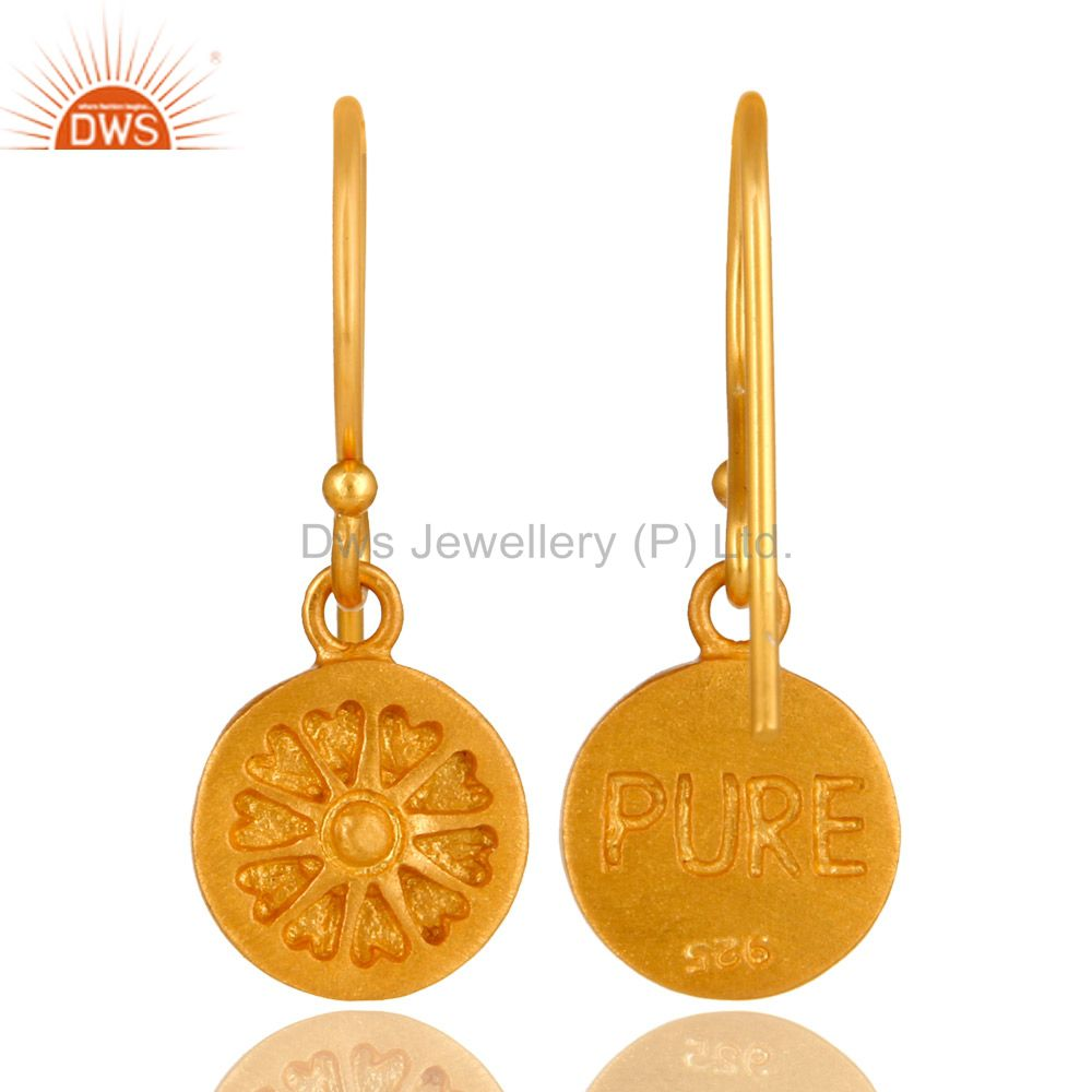 Wholesalers 22K Yellow Gold Plated Sterling Silver Circle Dangle Earrings For Womens
