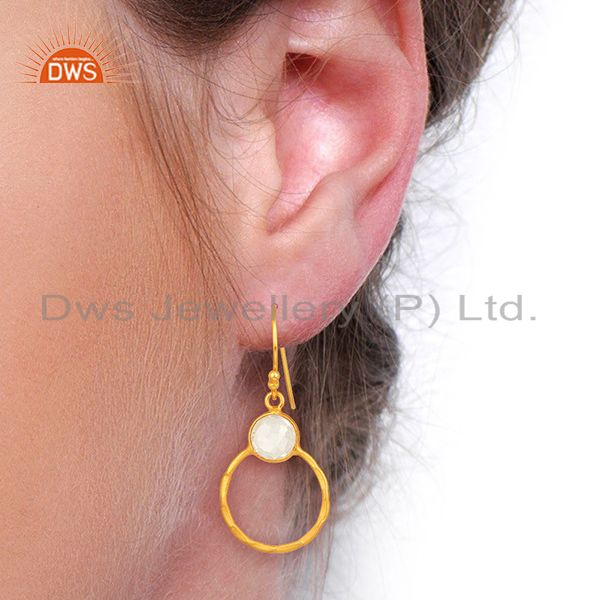 Wholesalers Crystal Quartz Dangle 14K Gold Plated 925 Sterling Silver Earrings Jewelry