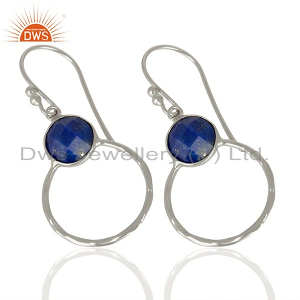 Wholesalers Lapis Lazuli Vintage Double Circle Sterling Silver White Rhodium Plated Earring
