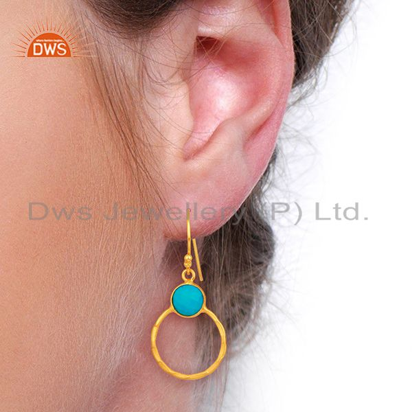 Wholesalers Turquoise Dangle 18K Gold Plated 925 Sterling Silver Earrings Jewelry