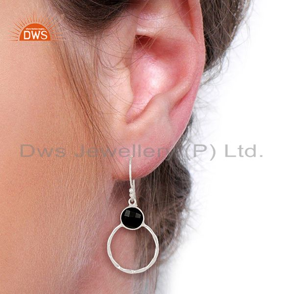 Wholesalers Black Onyx Vintage Double Circle Sterling Silver White Rhodium Plated Earring