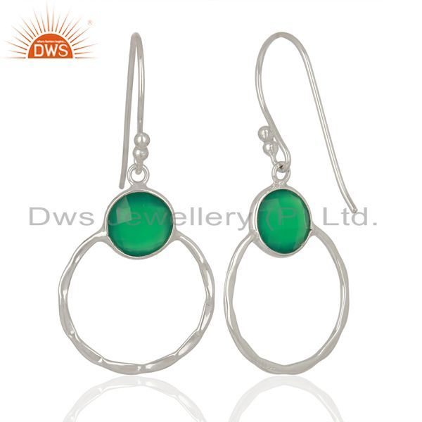 Wholesalers Green Onyx Double Circle 925 Sterling Silver White Rhodium Plated Earring