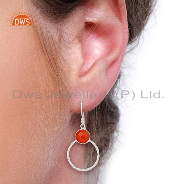 Wholesalers Red Onyx Double Circle  925 Sterling Silver White Rhodium Plated Earring