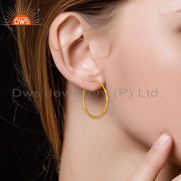 Wholesalers 22K Yellow Gold Plated Sterling Silver Hammered Circle Hoop Earrings