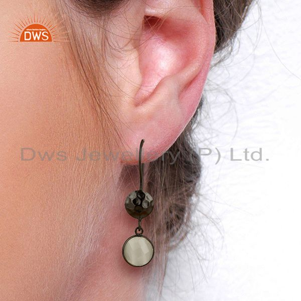 Wholesalers Oxidized Solid Sterling Silver White Moonstone Hammered Disc Dangle Earrings