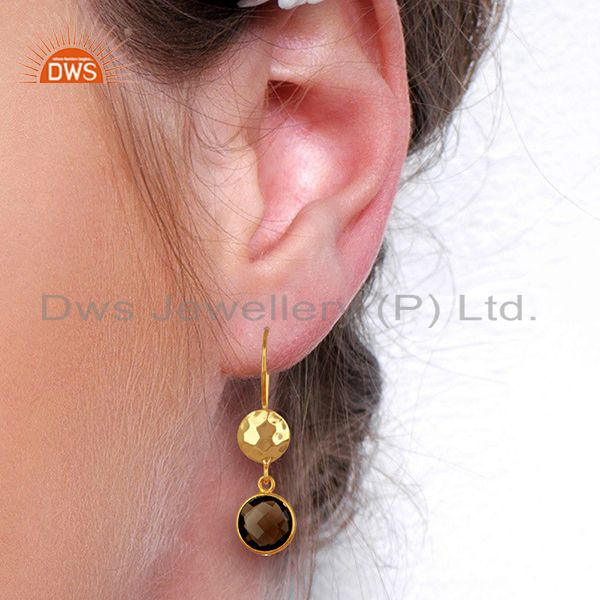 Wholesalers Smoky Quartz Gemstone Gold Plated Sterling Silver Earrings Wholesale