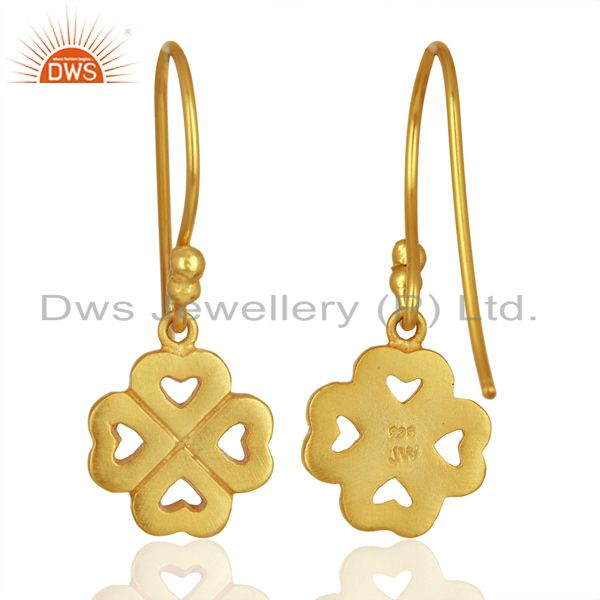 Wholesalers 18K Yellow Gold Plated Sterling Silver Four Heart Design Dangle Earrings