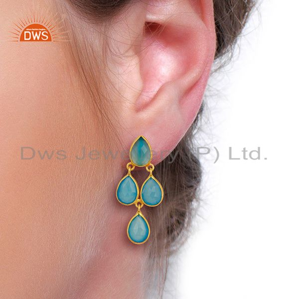 Wholesalers Blue Chalcedony Drop 18K Gold Plated 925 Sterling Silver Earrings Jewelry