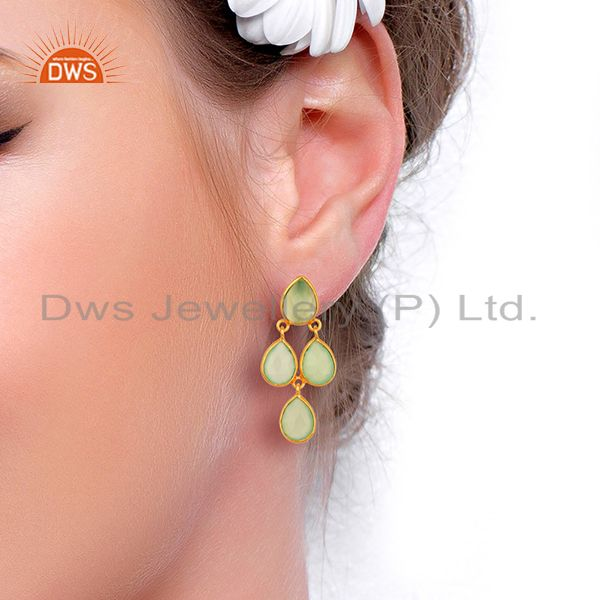Wholesalers Prehnite Chalcedony Gemstone Gold Plated Silver Earrings Jewelry