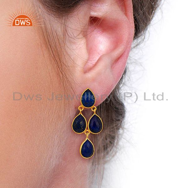 Wholesalers Lapis Lazuli Dangle 18K Gold Plated 925 Sterling Silver Earrings Jewelry