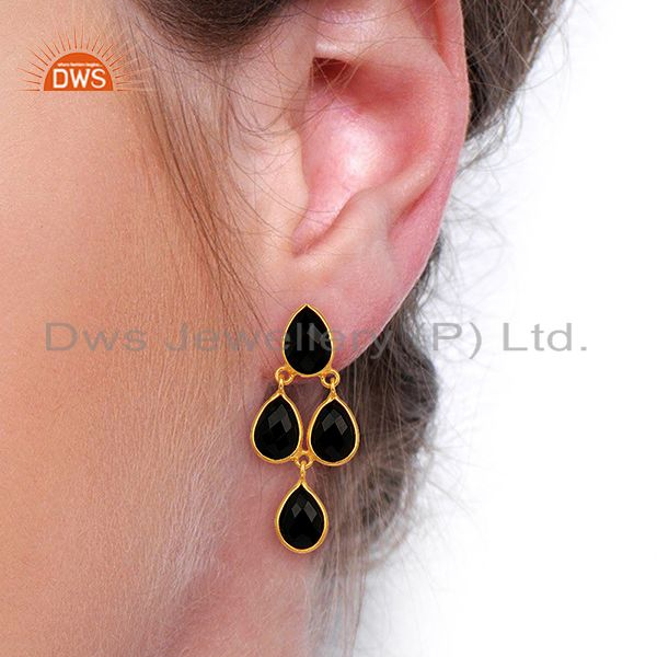 Wholesalers Black Onyx Gemstone Teardrop Sterling Silver Rose Gold Plated Chandelier Earring