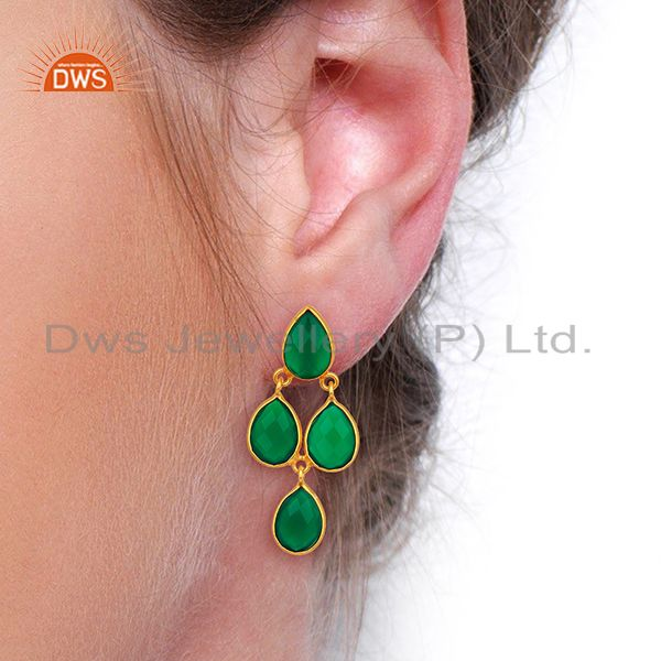 Wholesalers Green Onyx Dangle 18K Gold Plated 925 Sterling Silver Earrings Jewelry