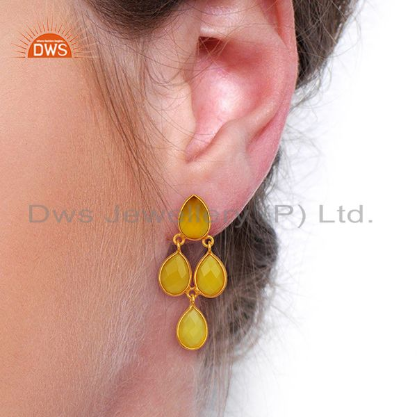 Wholesalers Yellow Chalcedony Dangle 18K Gold Plated 925 Sterling Silver Earrings Jewelry