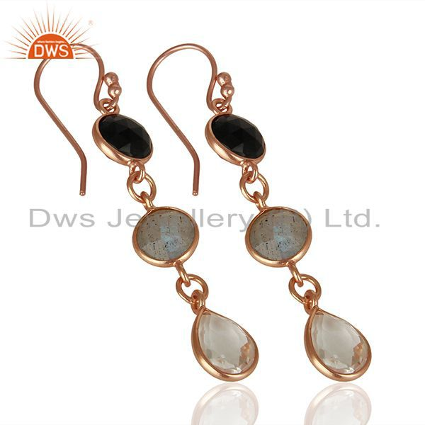 Wholesalers 18K Rose Gold Plated Silver Crystal Quartz And Labradorite Dangle Earrings