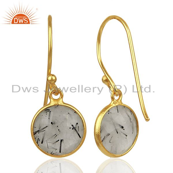 Wholesalers Black Rutile Gemstone Gold Plated Silver Earrings Jewelry Supplier